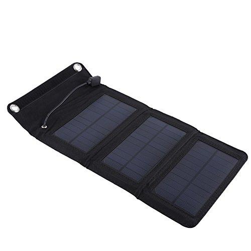 Alomejor Solar Panel Ladegerät 5w 5v Tragbares Mobiles Ladegerät mit Zwei USB Anschlüssen für Reisen Heimgebrauch