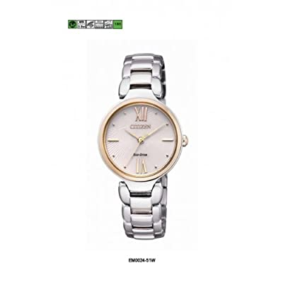 Citizen EM0024-51W - Reloj analógico de cuarzo para mujer, correa de acero inoxidable color plateado de Citizen