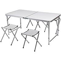 cozime AFT-03–Juego de mesa con 4sillas plegables aluminio altura ajustable AFT-03–Muebles de montaje rápido para jardín mesa plegable mesa Viaje mesa de camping (Color Blanco, 120cm