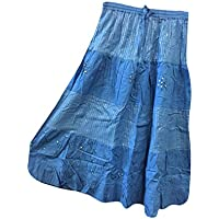 Mogul Interior Bohemian Retro Skirt Blue Embroidered Flare Boho Gyspy Long Skirts