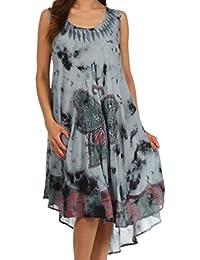Sakkas Tie Dye Butterfly Tank Sheath Caftan Mid Length Cotton Dress