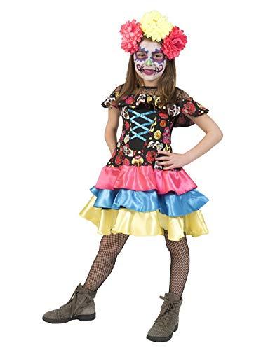 Confettery - Mädchen Kinder Kostüm, Day of The Dead Costume Muerto Mira, perfekt für Halloween Karneval und Fasching, 116, Mehrfarbig