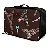 Portable Luggage Duffel Bag Eiffel Tower Travel Bags Carry-on In Trolley Handle