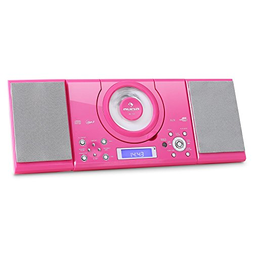 auna MC-120 • Stereoanlage • Kompaktanlage • Microanlage • MP3-fähiger CD-Player • UKW-Radiotuner • 30 Senderspeicher • USB-Port • AUX-IN • Weckfunktion • Dual-Alarm • LCD-Display • pink