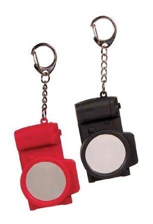 Two Camera Shaped Key Chains with Magnifier and LED by Streamline