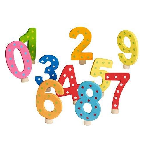 Zahlenset für Kerzenring, Holz 7 cm farbig