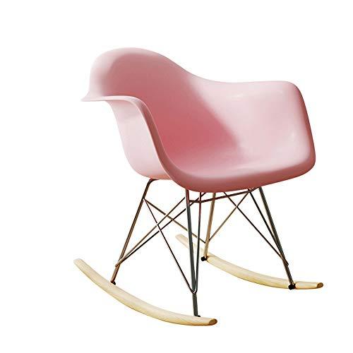 Freizeit Stuhl Outdoor Freizeit Sitz Kunststoff Schaukelstuhl Büro Geschirr ABS Kunststoff Lounge Retro Schaukelstuhl Freizeit Sessel Wohnzimmer Balkon Patio Sessel (Color : Pink) -