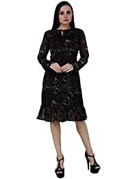 f6047e669c Secret Bazaar Women s Chiffon Floral Print A-line Round Neck Dress(Black)