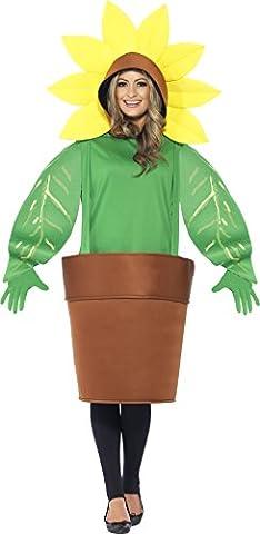 Smiffy's 43409 - Sunflower Kostüm Oberteil mit Kapuze angeschnittene Blumentopf und Handschuhe (Großbritannien Kostüm)