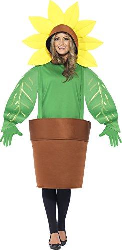 Smiffy's 43409 - Sunflower Kostüm Oberteil mit Kapuze angeschnittene Blumentopf und (Erwachsene Für Kostüm Blumentopf)