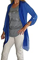 Jersey-Jacke mit Seiden-Chiffon, weiche Qualität mit Knöpfen zum Hochkrempeln, lange Form
