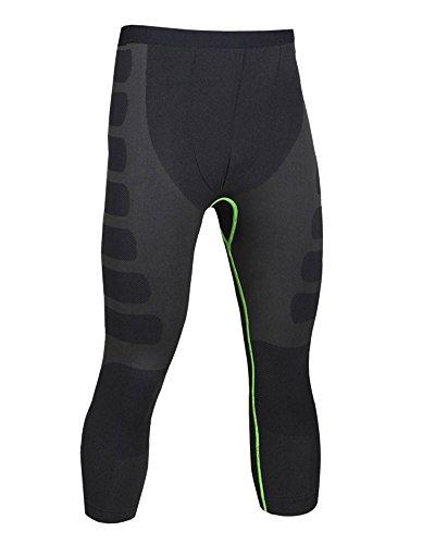 Uomo Pantaloni A Compressione Leggings Da Running Asciugatura Rapida Traspirante 3/4 Leggings Nero