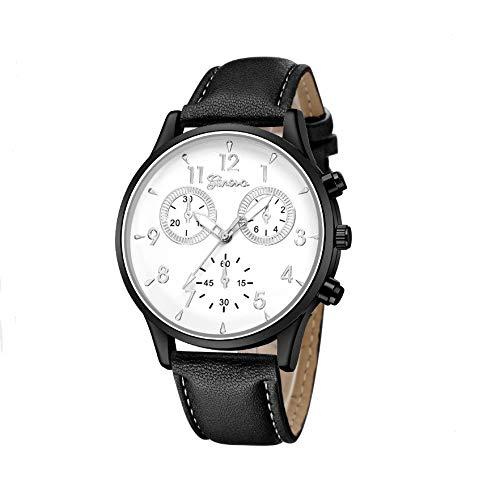Natthom Herrenuhr gefälschte DREI Augen Quarz Mode Uhr (Black Table White Surface Black Frame)