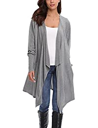 d199b21600dcc Abollria Cardigans for Women Lightweight Long Sleeve Waterfall Open Front  Midi Long Cardigan with Pockets