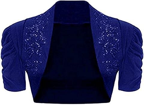BEAULOOK Women's Ruched Short Sleeve Beaded Bolero Top Shrug ROYAL BLUE ML