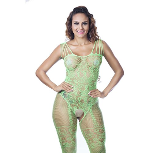 Zolimx Frauen Fischnetz Sheer Open Crotch Body Strumpf Bodysuit (Frauen Bodysuit)
