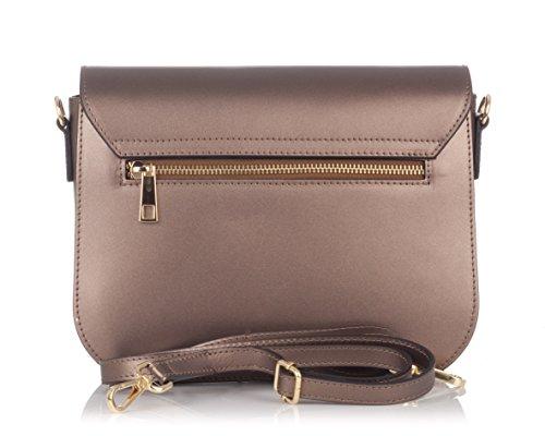 Laura Moretti - Borsa con tracolla in vera pelle con borchie Bronze Compras El Precio Barato Gran Venta Excelente 9LWwv67