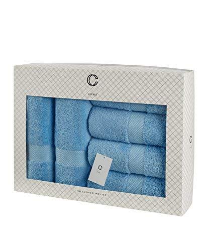 Cavar HOME - Handtuchset - 6er Set - 4 x Handtücher (50 x 100 cm) + 2 x Duschtücher (70 x 140 cm) - 100{93a25029a9814aa43ade49d329406452dd1529cf21467b4fbf6329b77d634401} Baumwolle - Premiumqualität + Geschenkset - Badetuch/ Duschtuch/ Handtuch/ Frottee (Hellblau)