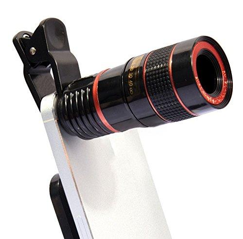 PLLP Handy-Kamera Teleskop 8-Fach Handy-Teleskop Schwarz und Weiß Orange Kreis Handy Externe Linse,Schwarz