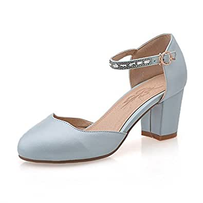 AllhqFashion Women's Buckle Round Closed Toe High Heels Pu Solid Pumps Shoes, Blue, 33