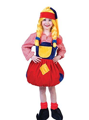 Kinder Zwergen Kostüm Pitcha für Mädchen - Kleid und Zwergenmütze - Gr. (Kostüm Kind Gnome)