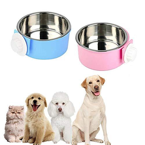 ZYZ Alimentador de tazones para Mascotas de 2 Piezas, tazón de plástico 2 en 1 y tazón de Acero Inoxidable Plato de Agua para Comida para tazón Plato de Plato de Comida para Gato montable cajones