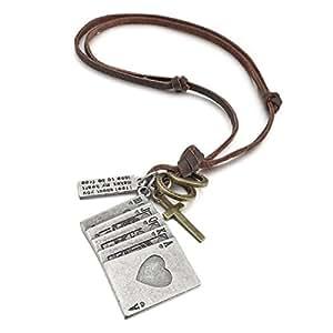 Kalendone Retro Lucky Royal Straight Flush Poker Cards Multi-charm Adjustable Genuine Leather Chain Necklace,Royal Straight Flush Playing Cards Necklace