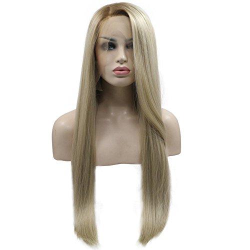 BESTUNG Ombre Blond Seite Teil gerade lange synthetische seidig Lace Front Perücken 2 Ton Farbe Hellbraun Wurzeln Haar Ersatz Perücken für Frauen Hälfte Hand auf 61 cm (24, 12t24/613)