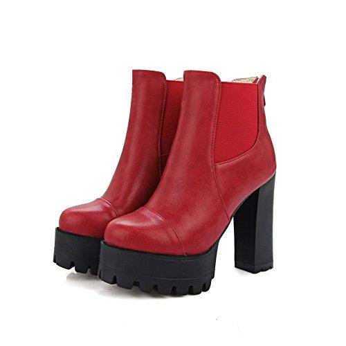 VogueZone009 Damen Rund Schließen Zehe Niedrig-Spitze Reißverschluss Hoher Absatz Stiefel Rot