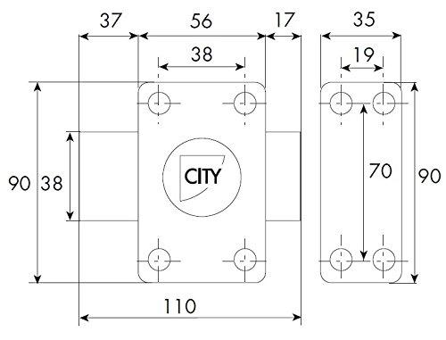 City Iseo - CITY ISEO - Verrou de sureté City 25 Or - 60 mm