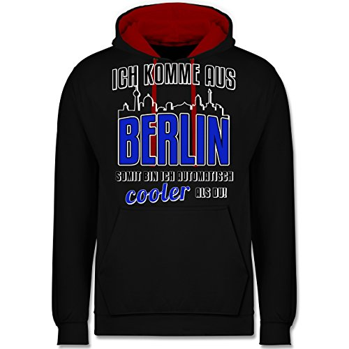 Städte - Ich komme aus Berlin - Kontrast Hoodie Schwarz/Rot