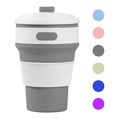 Misswonder zusammenklappbare Silikon-Kaffee-Tasse, wiederverwendbar faltbare Tasse, Thermobecher