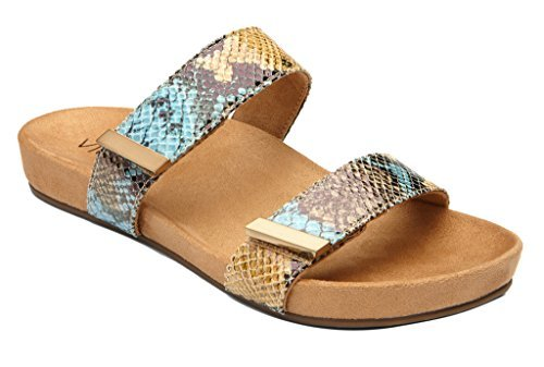 Vionic Womens 341 Grace Jura Leather Sandals Blue Snake