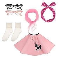 Auidy_6TXD 50s Girls Costume Accessory Set - Poodle Skirt, Chiffon Scarf, Cat Eye Glasses,Bobby Socks, Polka Dot Headband (TYPE3)