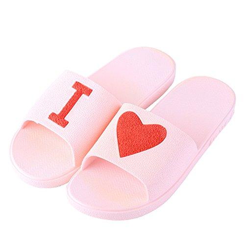 Eizur pantofole doccia antiscivolo amante punta aperta ciabatte bagno sandali scarpe piatte scarpe da spiaggia ciabatte da piscina doccia casuali scarpe slide taglia 37/38 per donne - rosa