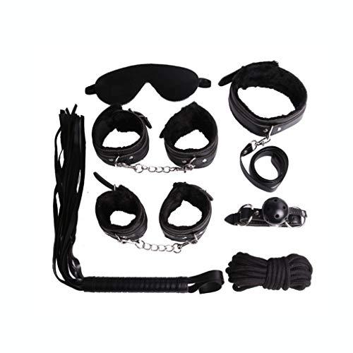 SLH Bundle 7-teiliger Anzug Martial Arts Supplies Professionelle Hochleistungsklapppolizei Handschellen Doppelschloss Mit Handschellen Lederbezug Kettenhandschellen (Color : Black) (Bundle-art Supplies)
