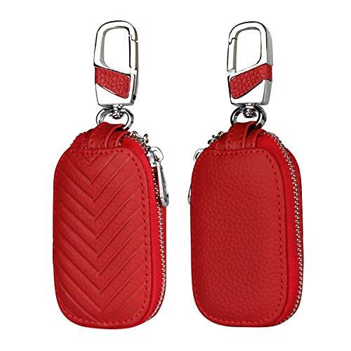 Copmob Multifunktions-Leder-Schlüsseletui,Exquisite Münztasche und Autoschlüssel-Etui,Diebstahlsicherer Autoschlüssel-Etui,Gerader Metallhaken - Rot -