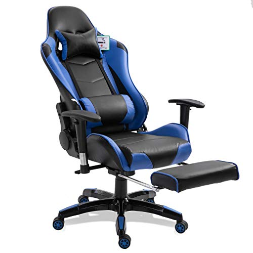 Blackpoolal XL Racing Bürostuhl Fernsehsessel Drehstuhl Gaming Stuhl mit fußstützen Höhenverstellung Massagesessel Relaxsessel Belastbar Chefsessel Schreibtischstuhl Gamingstuhl bis 150kg (Blau)