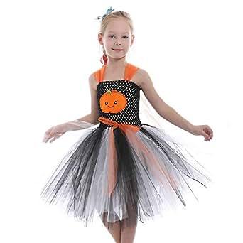 Riou Kinder Langarm Halloween Kostüm Top Set Baby Kleidung Set Kleinkind Kinder Baby Mädchen Halloween Kleidung Kostüm Kürbis Halloween Tutu Kleid Party Print Kleidung (90, Grau)