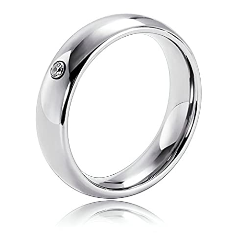 KnSam Stainless Steel Ring for Men Comfort Fit and Matte Finish Circle Silver Size T 1/2
