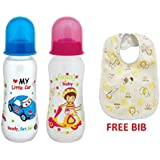 Mee Mee Premium Baby Feeding Bottle, 250ml (3M+) Pack Of 2 (Blue & Pink) And Baby Bib Free