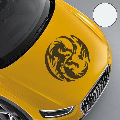 "A743 Autoaufkleber \""Yin Yang Drache\"" 60cm x 60cm weiss (erh. in 49 Farben und 3 Größen)"