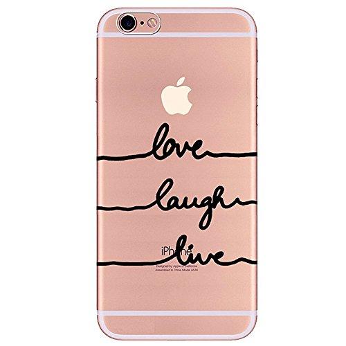 iPhone 7 Plus Coque,iPhone 7 Plus Housse Diamant,ETSUE Mode Luxe Miroir Bling Glitter iPhone 7 Plus Silicone Coque Luxueux Crystal Scintiller Doux Coque Bague Etui Rose Romantique Élégant Fleur Couron Love Laugh Live