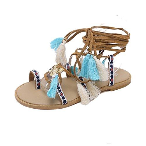 Lvraoo donna clip toe sandali etnici della boemia con nappe scarpe da spiaggia estive strappy lacci infradito (albicocca, asia 37)