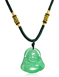 Bling Jewelry Jade teñido sintético riendo Buda Colgante Collar Cuerda trenzada