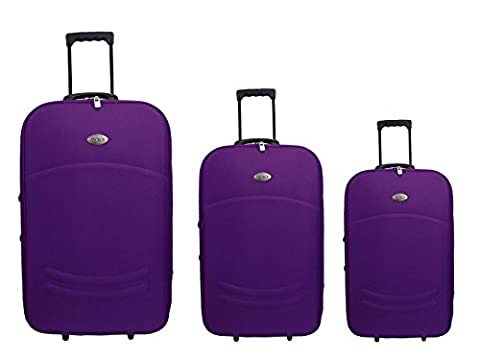 Set Trolley - Set de 3 valises trolley violettes souples