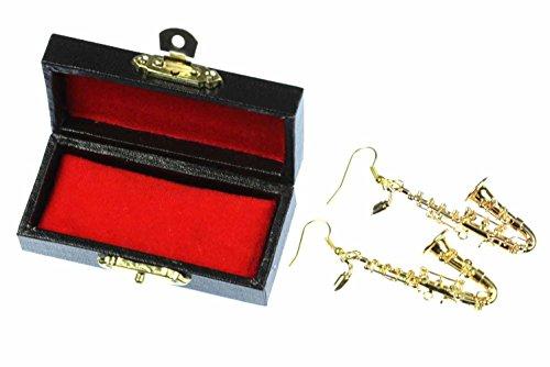 Saxofonohrringe Ohrringe Saxofon Miniblings Jazz Saxophonist + Box Sax vergoldet