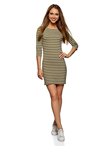 oodji Ultra Damen Jersey-Kleid Basic, Grün, DE 38 / EU 40 / M