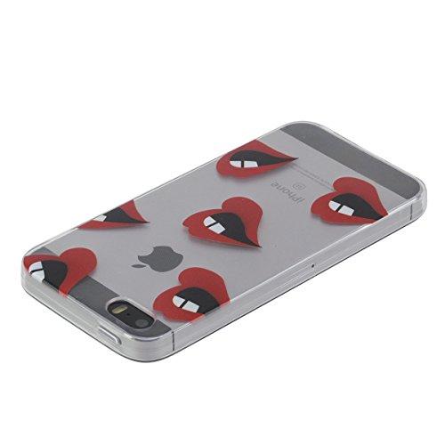 iPhone 5S Hülle, iPhone SE Hülle, Gift_Source [ Musik ] Hülle Case Transparent Weiche Silikon Schutzhülle Handyhülle Schutzhülle Durchsichtig TPU Crystal Clear Case Backcover Bumper Case für iPhone SE E1-Rote Lippen