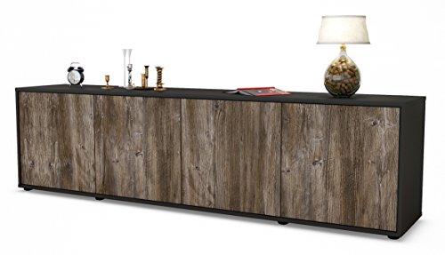 Stil.Zeit TV Schrank Lowboard Antonia, Korpus in Anthrazit Matt/Front im Holz-Design Treibholz (180x49x35cm), mit Push-to-Open Technik, Made in Germany